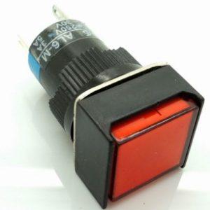 Red LA16F LAS1 - AF - 11-11 dsquare with lamp bottonePulsante 16 mm RED 24VOLT DC