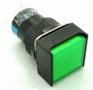 Green LA16F LAS1 - AF - 11-11 dsquare with lamp bottonePulsante 16 mm GREEN 24VOLT DC