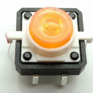 Orange LED 12V 12x12dip Illuminated Tactile Pulsante with transparent bottone
