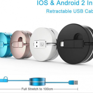 2 in 1 round box and retractable design micro USB Cavo for iPhone 5 6 s plus mobile phone Samsung USB cabel