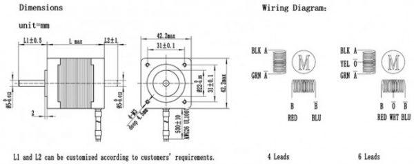 Motore passo-passo NEMA17 42HS34-0844